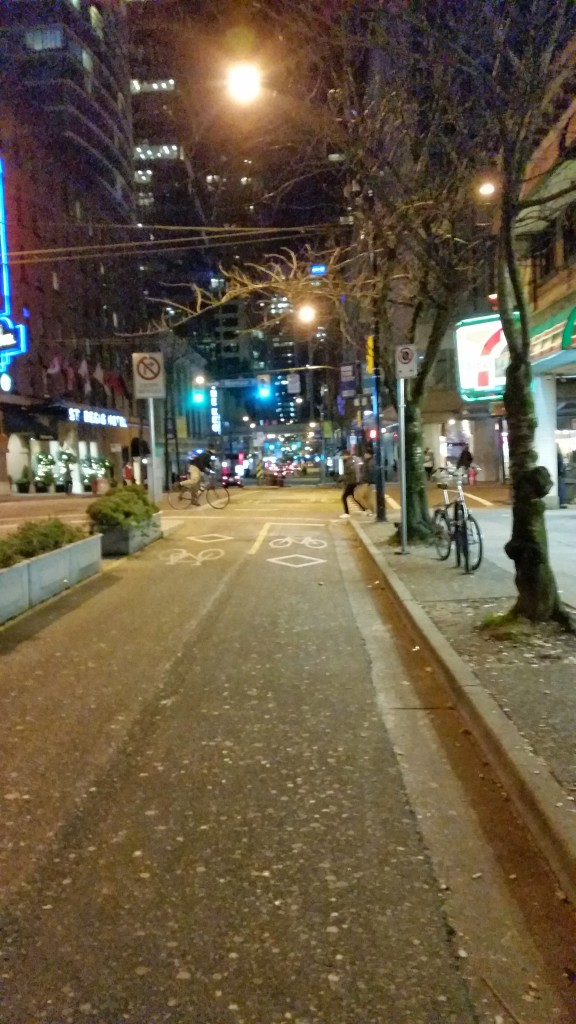 New's Year Eve, Bike Lanes on Dunsmuir Street, Vancouver.